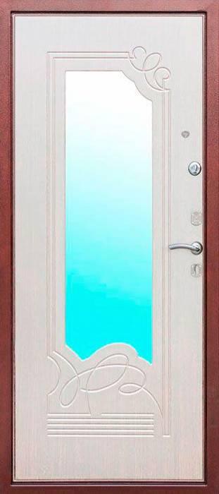 входная дверь с напылением порошка и зеркалом внутри